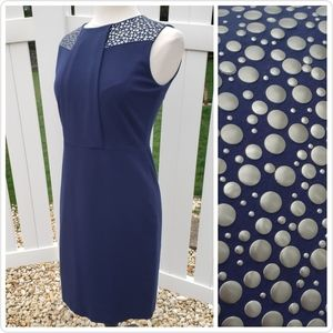 🆕 Vince Camuto Navy Blue Gold Jewels Sheath Dress
